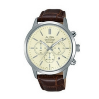 ราคาSeiko Alba Leather Band Chronograph Watch AT3987X1