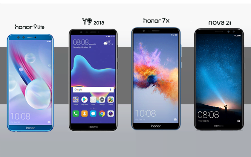 เทียบความแตกต่างระหว่าง Huawei Nova 2i , Y9 (2018) , Honor 7x